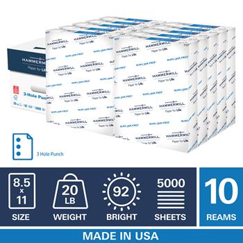 """Hammermill 3 Hole Punch 20lb Copy Paper, 8.5"""" x 11"""", 92 Bright, 10 Reams, 5,000 Sheets"""