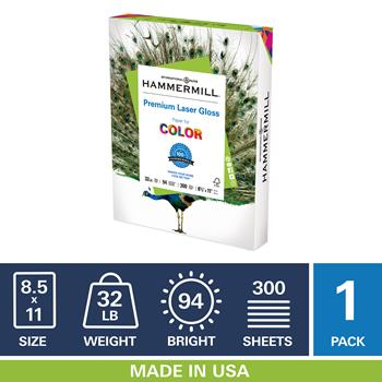 "Hammermill® Premium Laser Gloss 32lb Copy Paper, 8.5"" x 11"", 94 Bright, 1 Ream, 300 Sheets"