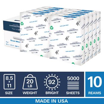 Hammermill Printer Paper White 100/% Recycled Copy 20lb Letter size 500 Sheet