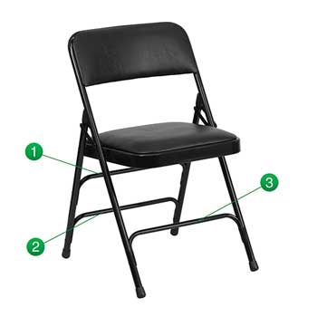 Flash Furniture HERCULES Series Curved Triple Braced & Double-Hinged Black Vinyl Metal Folding Chair