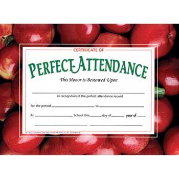 "Perfect Attendance Award, 8 1/2"" x 11"""