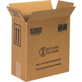 "W.B. Mason Co. Plastic Jug Haz Mat boxes, 2 - 1 Gallon, 12"" x 6"" x 12 3/4"", Kraft, 20/BD"