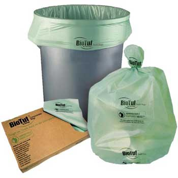 Heritage BioTuf® Compostable Can Liners, 35 x 59, 1.3mil, Green, 100/CT