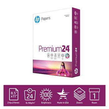 "HP Papers Premium 24lb Copy Paper, 8.5"" x 11"", 100 Bright, 1 Ream, 500 Sheets"