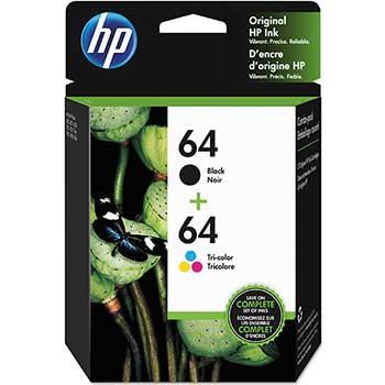 64 Ink Cartridges - Black, Tri-color, 2 Cartridges (X4D92AN)