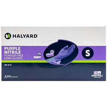 Halyard Exam Gloves, Powder-Free, Nitrile, Small, Purple, 100/BX, 10 BX/CT