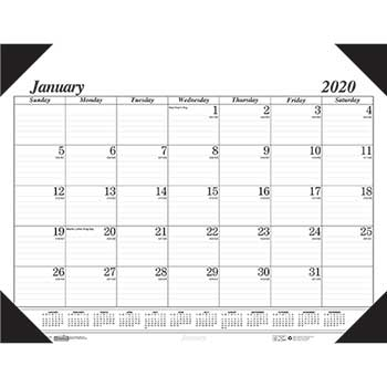 Workstation-Size One-Color Monthly Desk Pad Calendar, 18-1/2 x 13, 2020