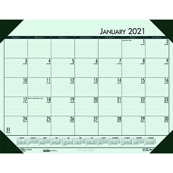 "Recycled EcoTones Woodland Green Monthly Desk Pad Calendar, 22"" x 17"", 2021"