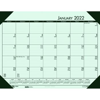 """House of Doolittle™ Recycled EcoTones Woodland Green Monthly Desk Pad Calendar, 22"""" x 17"""", 2022"""