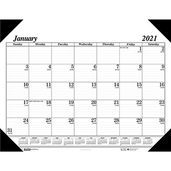 """House of Doolittle™ Recycled One-Color Refillable Monthly Desk Pad Calendar, 22"""" x 17"""", 2021"""