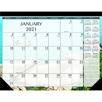 """100% Recycled Earthscapes Seascapes Desk Pad Calendar, 22"""" x 17"""", 2021"""