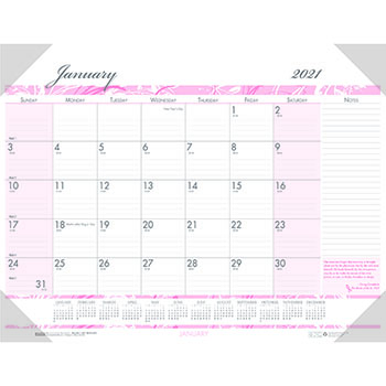 """Recycled Breast Cancer Awareness Monthly Desk Pad Calendar, 18 1/2"""" x 13"""", 2021"""