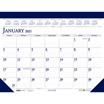 "Recycled Two-Color Monthly Desk Pad Calendar, 22"" x 17"", 2021"