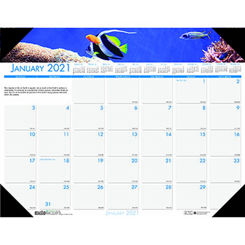 "Recycled Sea Life Photographic Monthly Desk Pad Calendar, 18 1/2"" x 13"", 2021"
