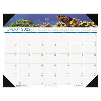 """House of Doolittle™ Recycled Sea Life Photographic Monthly Desk Pad Calendar, 18 1/2"""" x 13"""", 2022"""