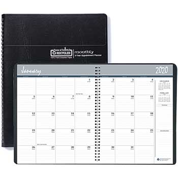Recycled 24-Month Ruled Monthly Planner, 8 1/2 x 11, Black, 2020-2021