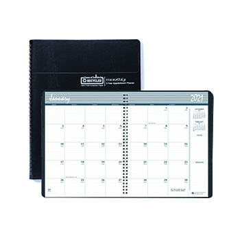 """Recycled 24-Month Ruled Monthly Planner, 8 1/2"""" x 11"""", Black, 2021-2022"""