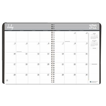 House of Doolittle™ Academic Ruled Monthly Planner, 14-Month July-August, 8-1/2 x 11, Black, 2021-2022