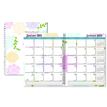 """Whimsical Floral Monthly Planners, 8 1/2"""" x 11"""", 2021"""