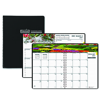"""House of Doolittle™ Recycled Gardens of the World Weekly/Monthly Planner, 7"""" x 10"""", Black, 2021"""