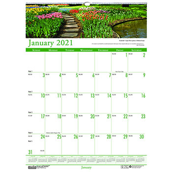"""Recycled Gardens of the World Monthly Wall Calendar, 15 1/2"""" x 22"""", 2021"""