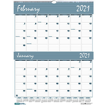 """House of Doolittle™ Recycled Two-Months-per-Page Wirebound Wall Calendar, 20"""" x 26"""", 2021"""