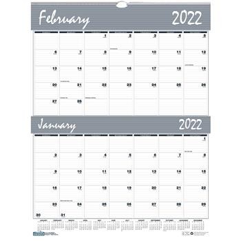 """House of Doolittle™ Recycled Two-Months-per-Page Wirebound Wall Calendar, 20"""" x 26"""", 2022"""