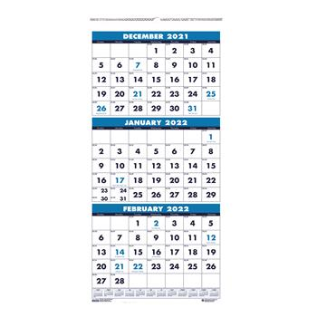 House of Doolittle™ Recycled Three-Month Format Wall Calendar, 12 1/4 x 26, 14-Month, 2021-2022