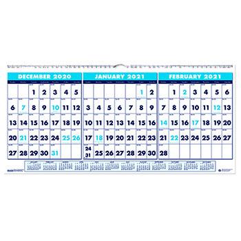 """House of Doolittle™ Three-Month Horizontal Wall Calendar, 17"""" x 8"""", 14-Month (Dec-Jan) 2021"""