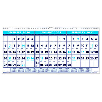 "Three-Month Horizontal Format Wall Calendar, 23 1/2"" x 12"", 2021"