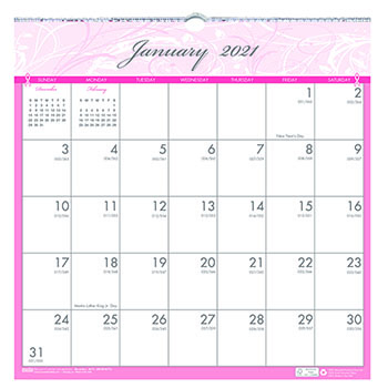 """Recycled Breast Cancer Awareness Monthly Wall Calendar, 12"""" x 12"""", 2021"""