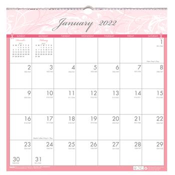 """House of Doolittle™ Recycled Breast Cancer Awareness Monthly Wall Calendar, 12"""" x 12"""", 2022"""