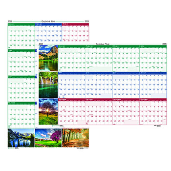 "Recycled Earthscapes Nature Scene Reversible Yearly Wall Calendar, 32"" x 48"", 2021"