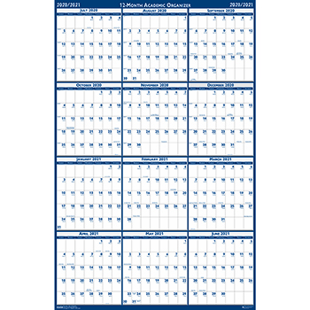 House of Doolittle™ Poster Style Reversible/Erasable Academic Yearly Calendar, 24 x 37, 2020-2021