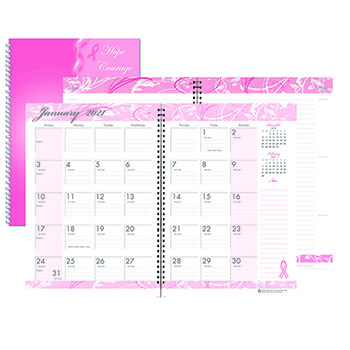 "Recycled Breast Cancer Awareness Monthly Planner/Journal, 7"" x 10"", Pink, 2021"