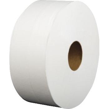 "Jumbo Roll Bath Tissue, 9"" dia, White, 1-Ply, 12/Carton"