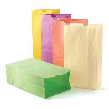 """Hygloss Paper Bags, Pastel, 6"""" x 3.5"""" x 11"""", 28/PK"""
