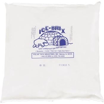 "W.B. Mason Co. Ice-Brix™ Cold Packs, 8"" x 8"" x 1-1/2"", White, 9/CS"