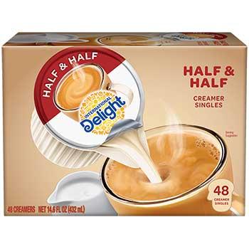 Half & Half Liquid Coffee Creamer, 0.44 oz. Single-Serve Cups, 48/BX