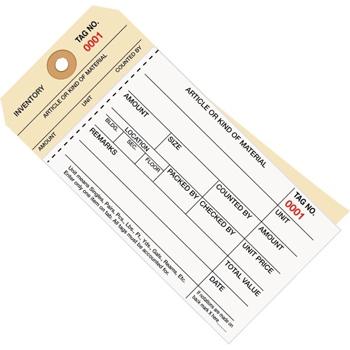 "W.B. Mason Co. Inventory Tags, 2 Part Carbonless Stub Style #8, (0001-0499), 6 1/4"" x 3 1/8"", White/Manila, 500/CS"