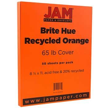 JAM Paper® Recycled Cardstock, 8 1/2 x 11, 65lb Brite Hue Orange, 50/PK