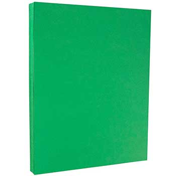 "JAM Paper® Colored Cardstock, Letter Coverstock, 8 1/2"" x 11"", 65 lb., Green, Recycled, 50/RM"