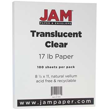 JAM Paper Translucent Vellum Paper, 8 1/2 x 11, 17lb, Clear,  100/PK