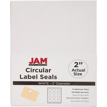 "JAM Paper Circle Label Sticker Seals, 2"", White, 120/PK"