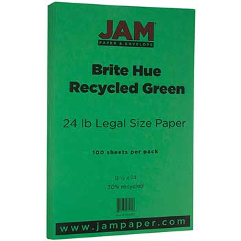 JAM Paper Recycled Paper, 8 1/2 x 14, 24lb Brite Hue Green, 100/PK