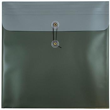 "JAM Paper Plastic Envelopes with Button & String Tie Closure, Square, 13"" x 13"", Metallic Dark Green, 12/PK"