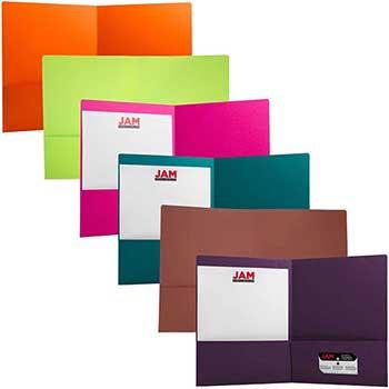 JAM Paper® Premium Matte Cardstock Twin Pocket Folders, Assorted Fashion Colors, 6/PK