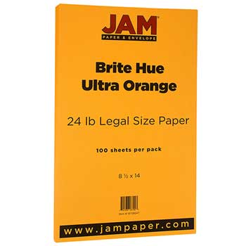 JAM Paper® Recycled Paper, 8 1/2 x 14, 24lb Brite Hue Ultra Orange, 100/PK