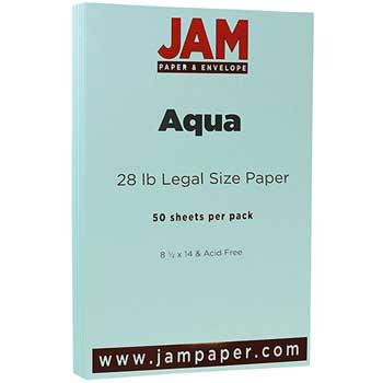 JAM Paper Colored Paper, 8 1/2 x 14, 28lb Aqua, 50/PK