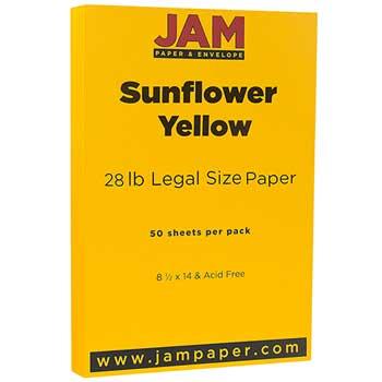 JAM Paper Colored Paper, 8 1/2 x 14, 28lb Sunflower Yellow, 50/PK